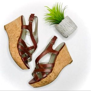 Marc Fisher Cognac Strappy Cork Wedge Shoes